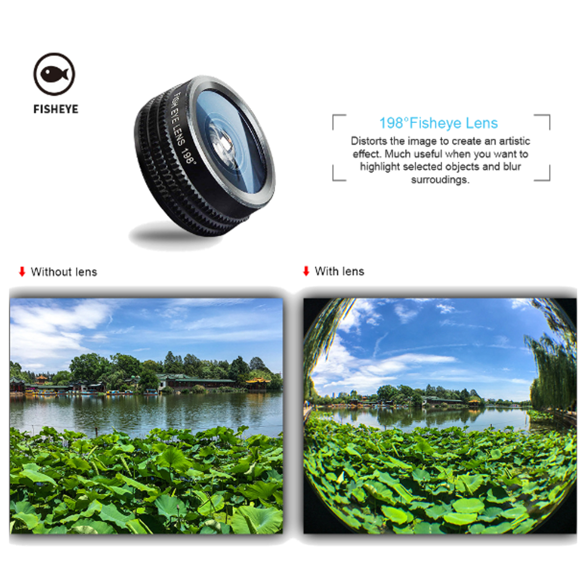 Bakeey 7 in 1 Wide Angle Macro Telephoto Fisheye CPL Kaleidoscope Lens Camera Lens For Phone Tablet