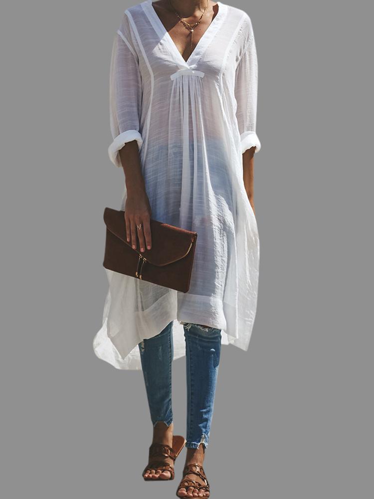 Plus Size M-6XL V-neck Long Sleeve Side Split Shirt Dress