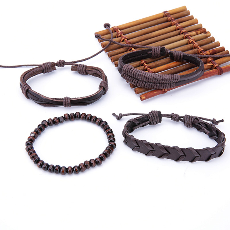1 Set Adjustable Multilayer Wood Beads Men's Bracelets
