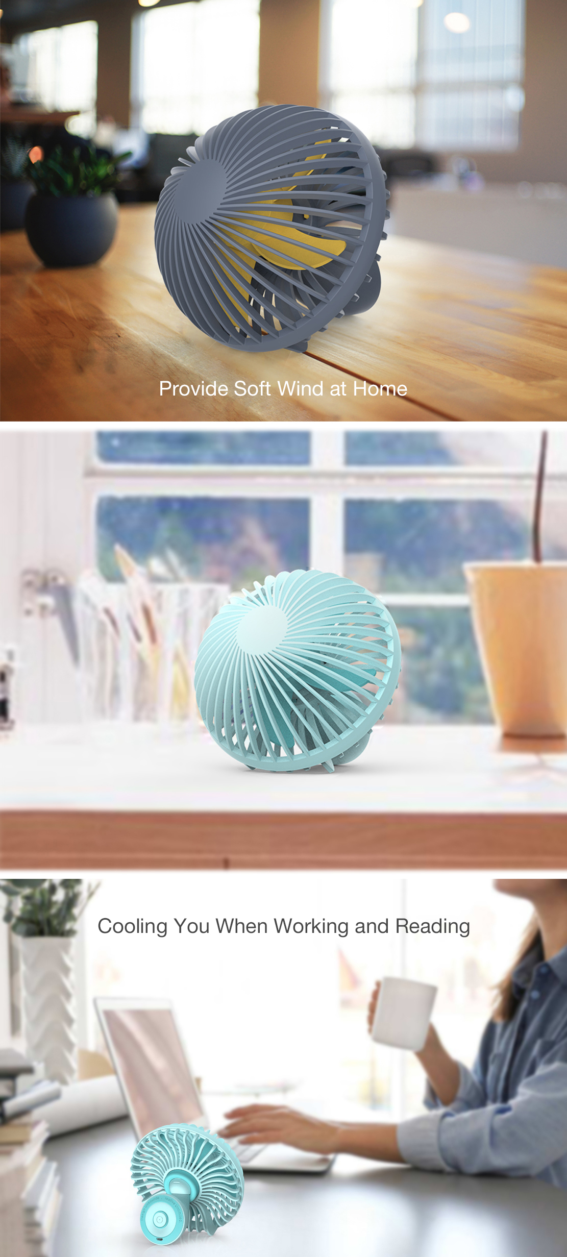 Loskii HF-200 Portable Mini Electronic Desktop Mushroom Shape Summer Cooling Fan 2 Grade Adjustment USB Charging Fan
