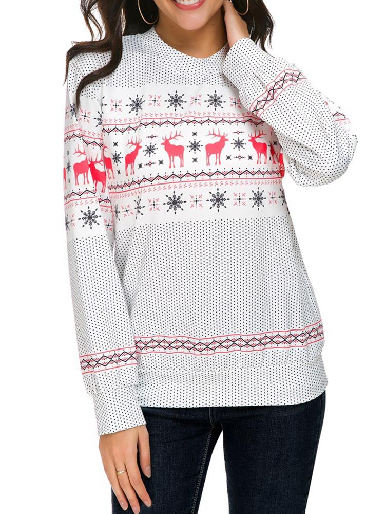 Autumn Winter Women Long Sleeve Deer Christmas Printed Sweatshirts