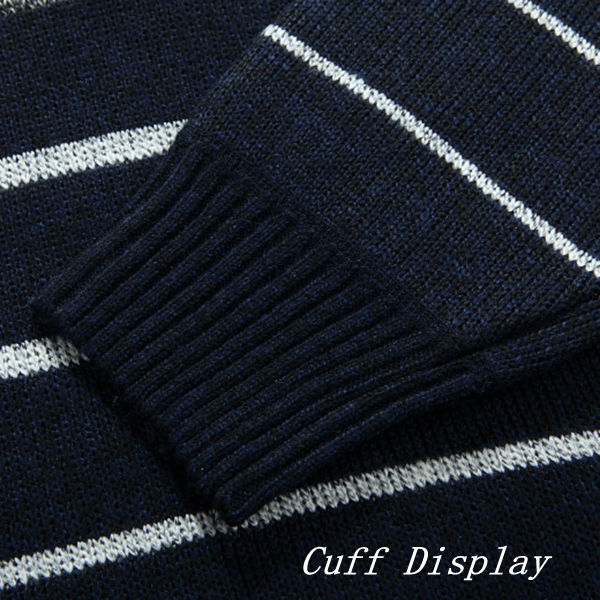 Mens Warm Cashmere Stripes Knitted Sweaters Semi Turtleneck Pullovers Zipper Stand Collar Sweater