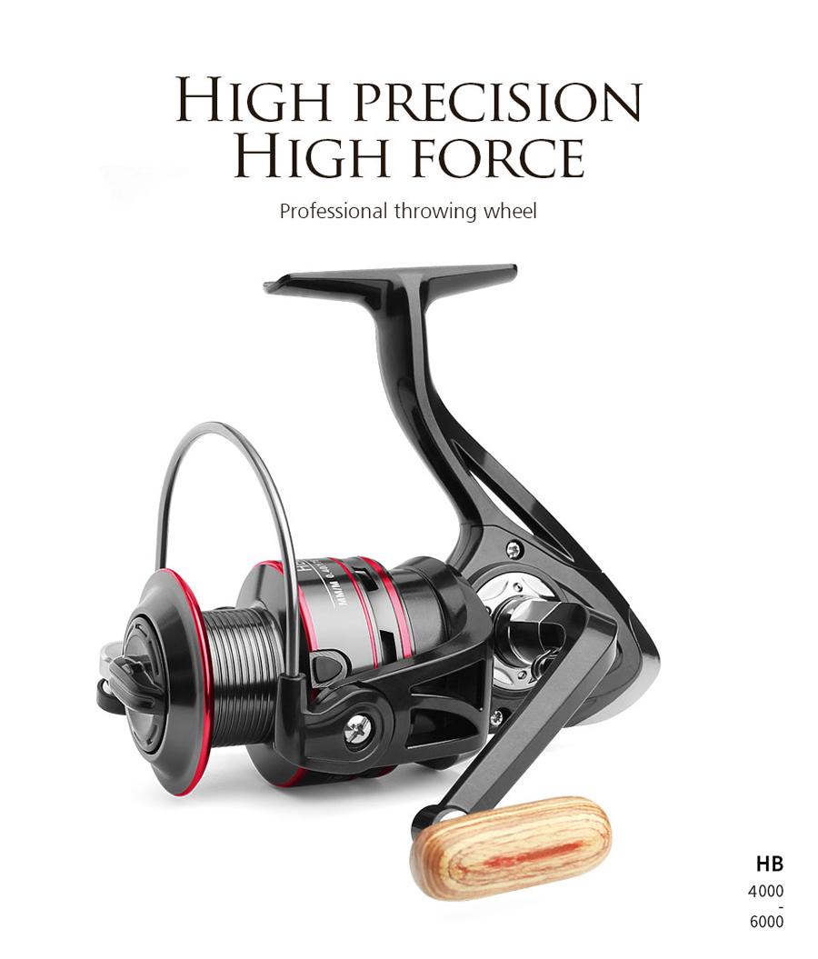 ZANLURE HB4000-6000 5.2:1/4.7:1 12BB Spinning Fishing Reel Wood Handle Fresh Saltwater Carp Wheel