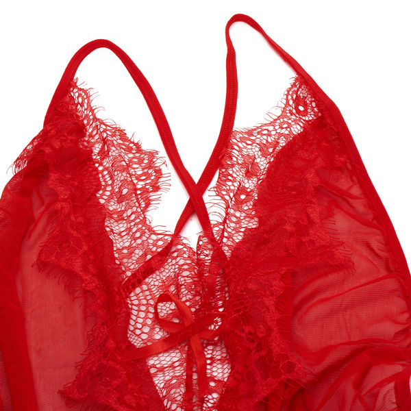 Sexy Deep V Bust Lace-trimmed Satin Nightwear One-Piece Bodysuit Teddy Babydoll Sleepwear