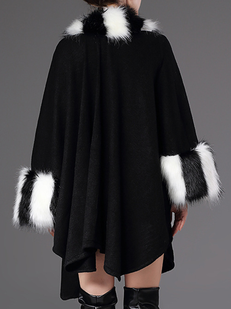Plus Size Striped Bats Sleeve Faux Fur Coats