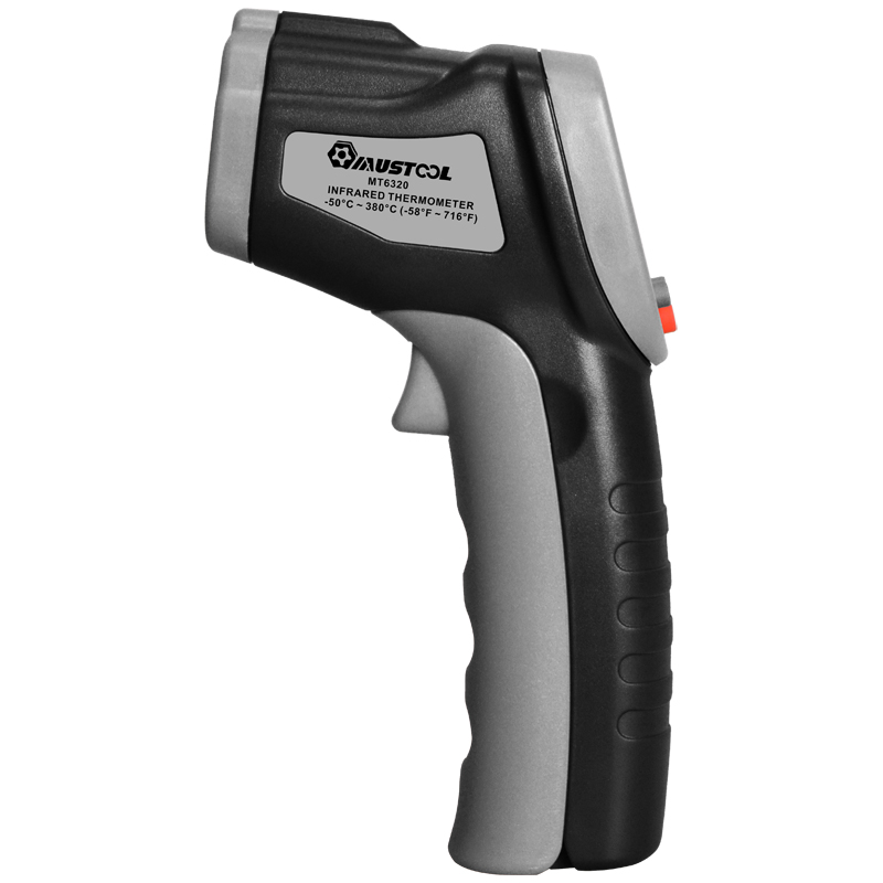 Mustool® MT6320 -50 to 380℃ Digital LCD Non Contact Infrared IR Thermometer Temperature Meter Gun with Self-calibration + Max. Min. Function