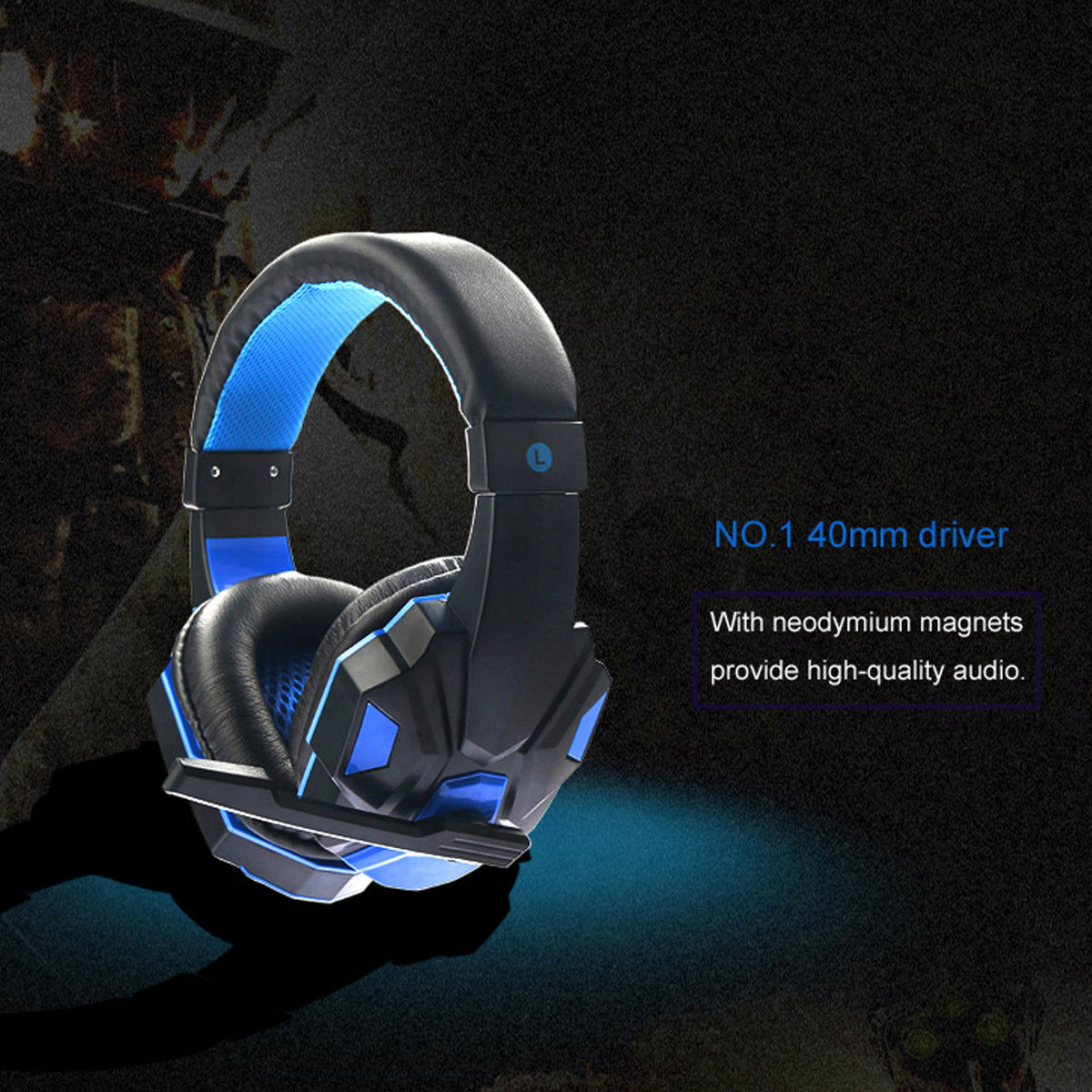 SY830MV Deep Bass Game Headphone Stereo Over-Ear Gaming Headset Headband Earphone with LED Light