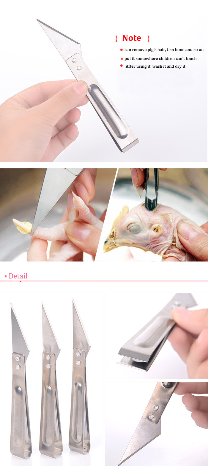 Stainless Steel Pig Chicken Defeatherer Fish Bone Pig Chicken Hair Tong Clip Remover