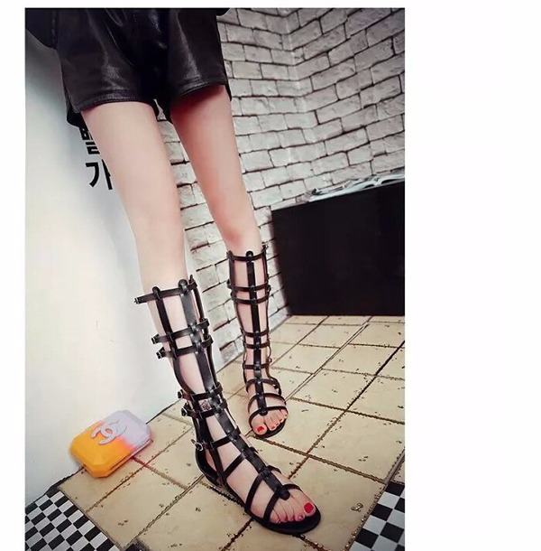 Women Chic Sandals Strappy Flat Boot Knee High Zip Up Summer Beach Shoes