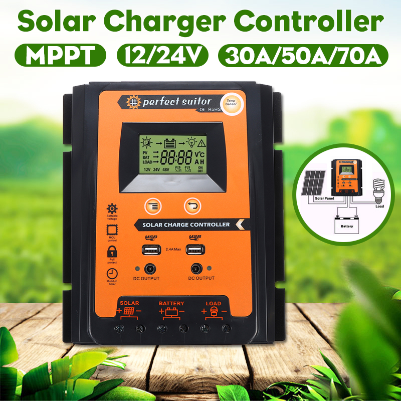 12/24V Dual 2.4A USB LCD Solar Panel Controller Solar Charge Controller
