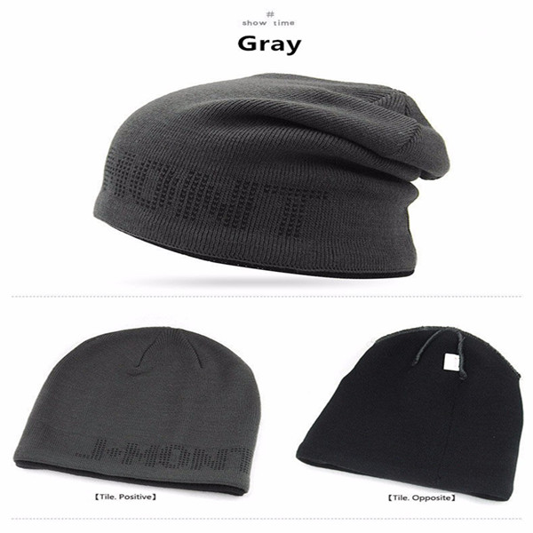 Men's Knitted Thickened Warm Caps Letter JAMONT Double Layer Cover Head Cap Ski Slouchy Chic Cap