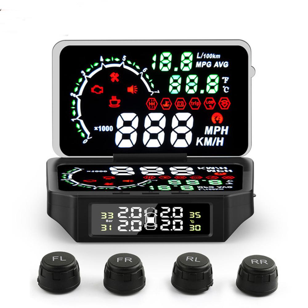 OBD2 TPMS Sensor Temperature Tire Pressure Monitor System Digital Display Car Excess Speed Alarm