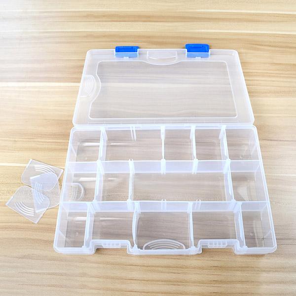 17 Compartment Removable Fishing Tackle Box Transparent Plastic Fishing Box 27.5*18.5*4.5cm