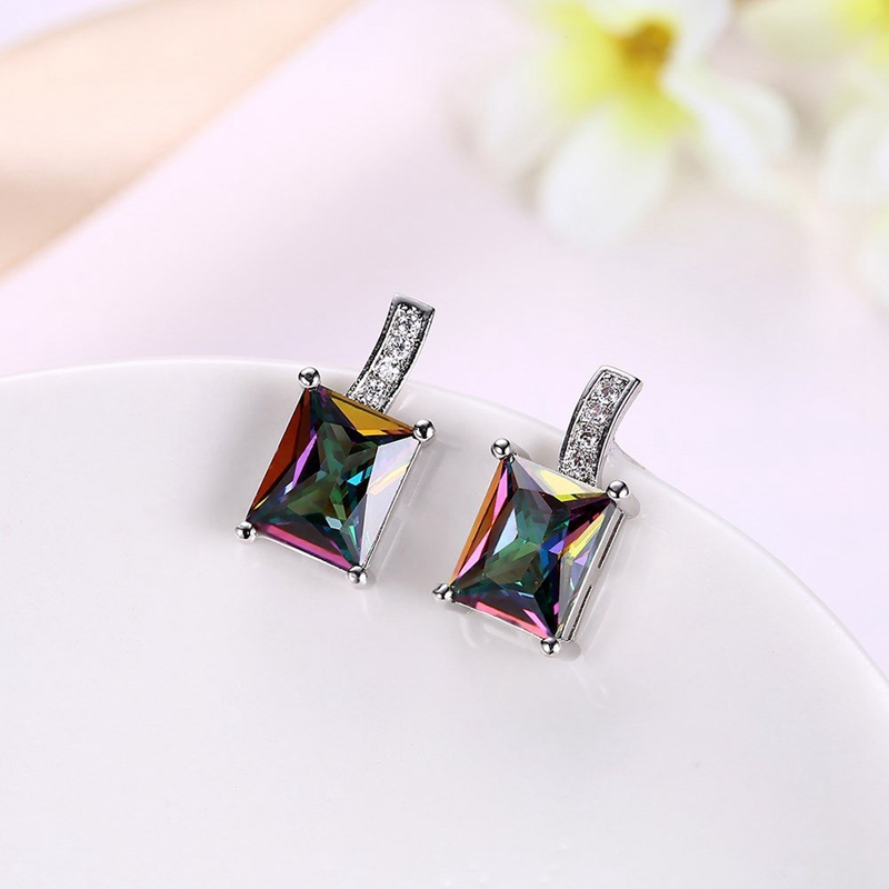 INALIS Women's Square Ear Stud Rainbow Rhinestone Earrings