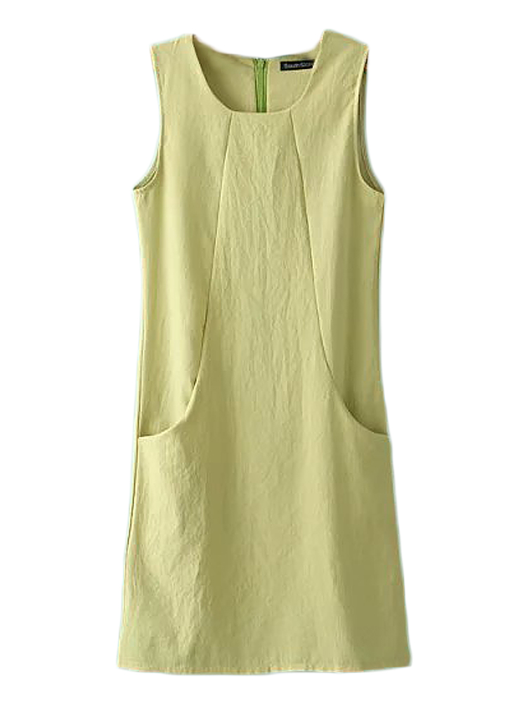 Elegant Women Brief Solid Sleeveless Pocket Slim Cotton Linen Dress