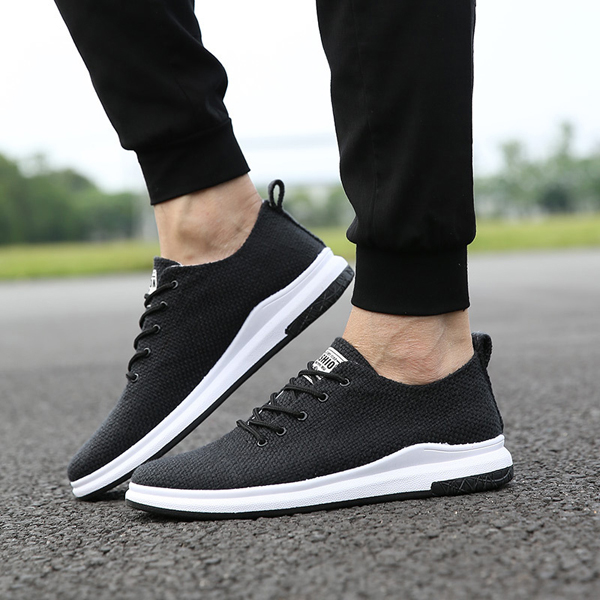 Men Woven Sryle Flax Lace Up Sport Athletic Shoes