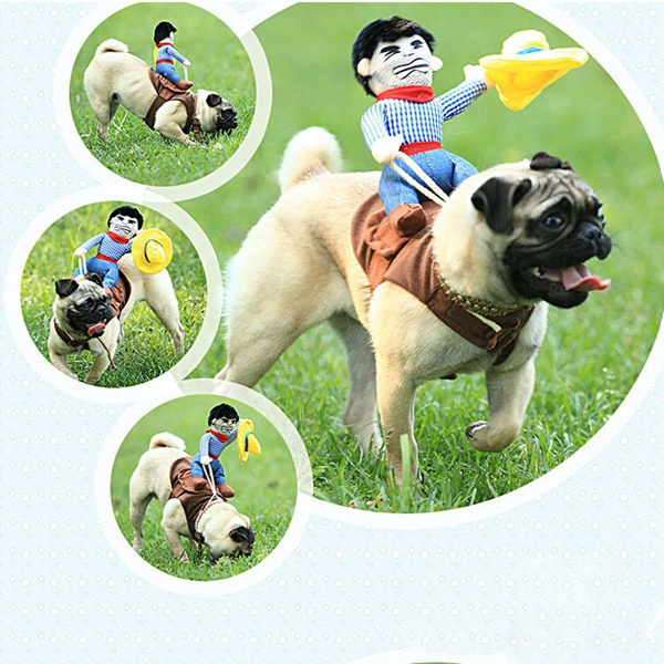 Dog Doggie Puppy Cat Pet Clothes Riders Costume Cowboy Harness Dress Up