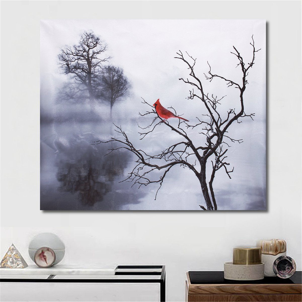 Modern Red Bird Tree Canvas Oil Printed Paintings Home Wall Art Decor Unframed Decorations