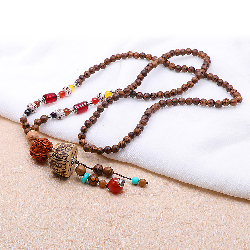 Unisex Ethnic Colorful Buddha Beaded Pendant Necklace