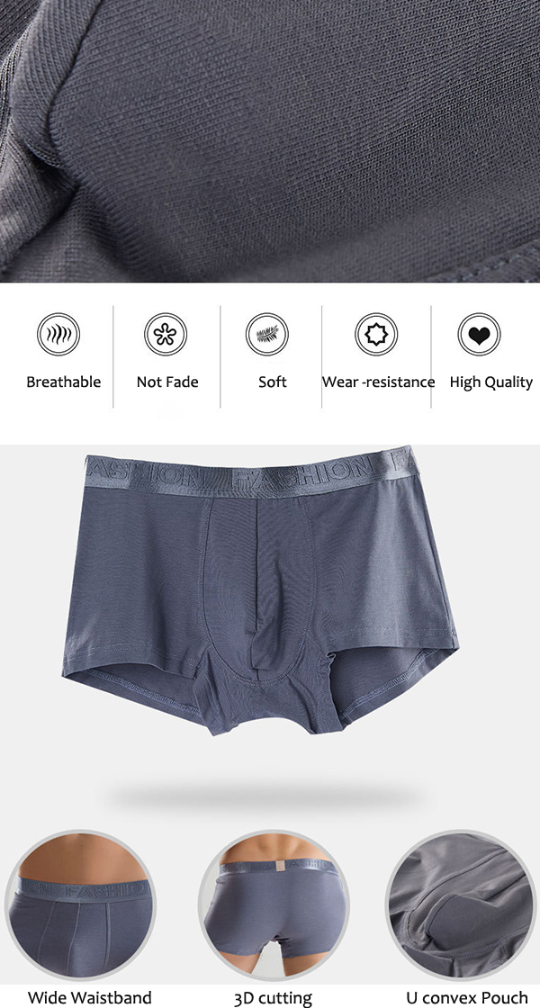 Mens Cotton Breathable Boxers Solid Color Casual Mid Rise U Convex Pouch Underwear