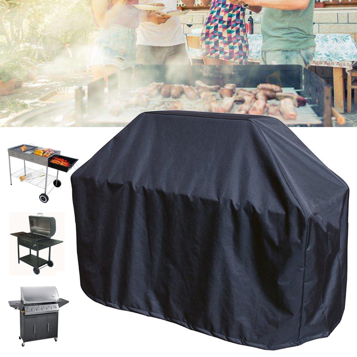 163x61x122cm Black BBQ Grill Barbecue Waterproof Covers