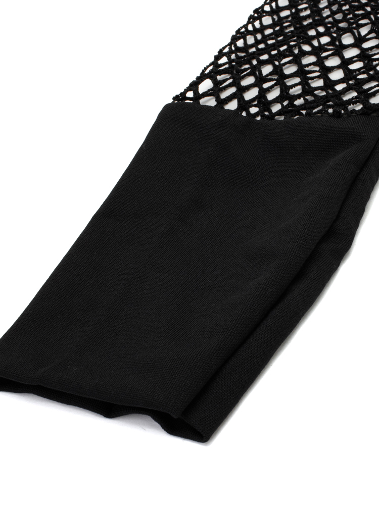 Sexy Casual Black Mesh Hollow Out T-Shirt For Women