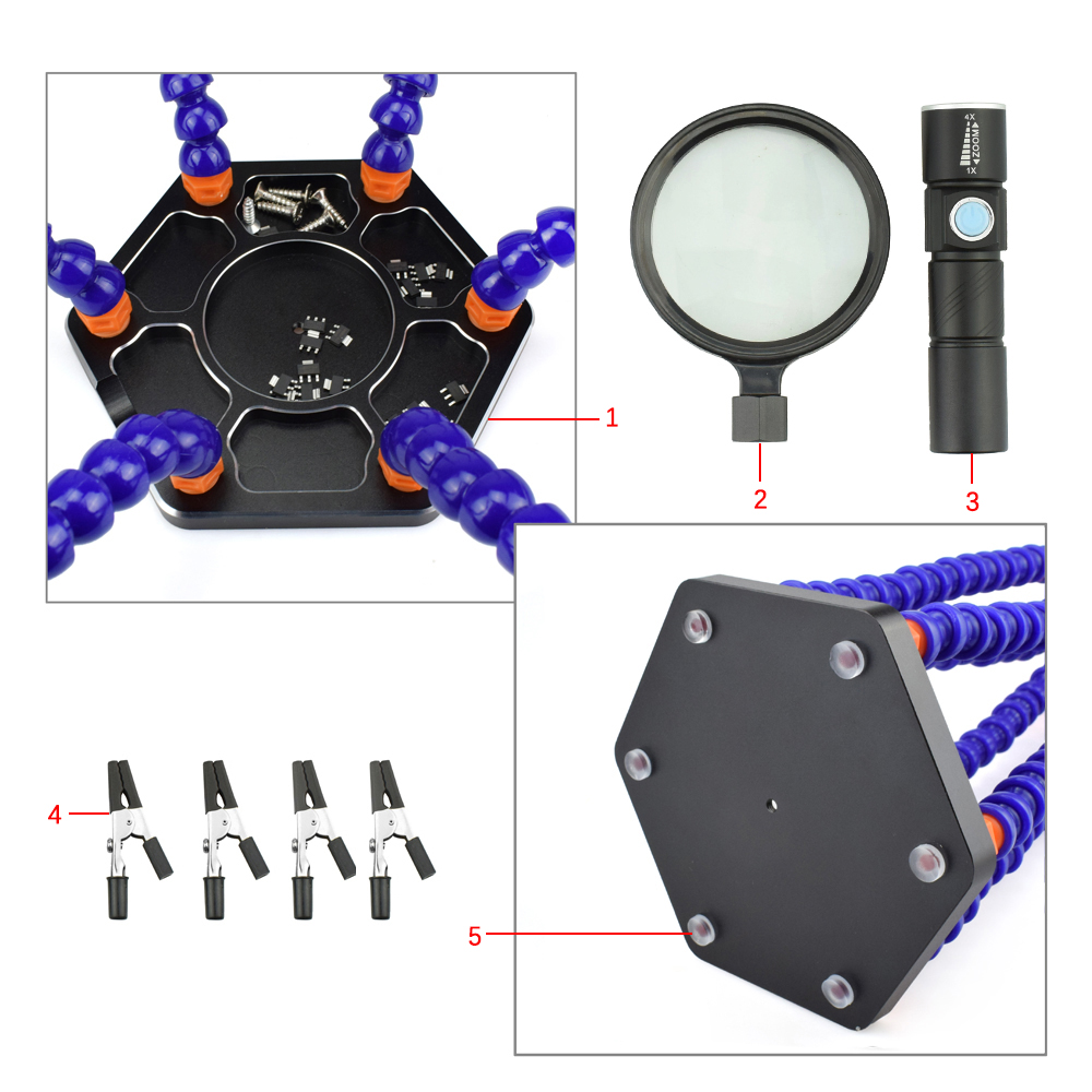 6 Flexible Arms Soldering Vise Helping Hands Third Hand PCB Repair Fixture with Magnifying Glass Lens & LED Flashlight