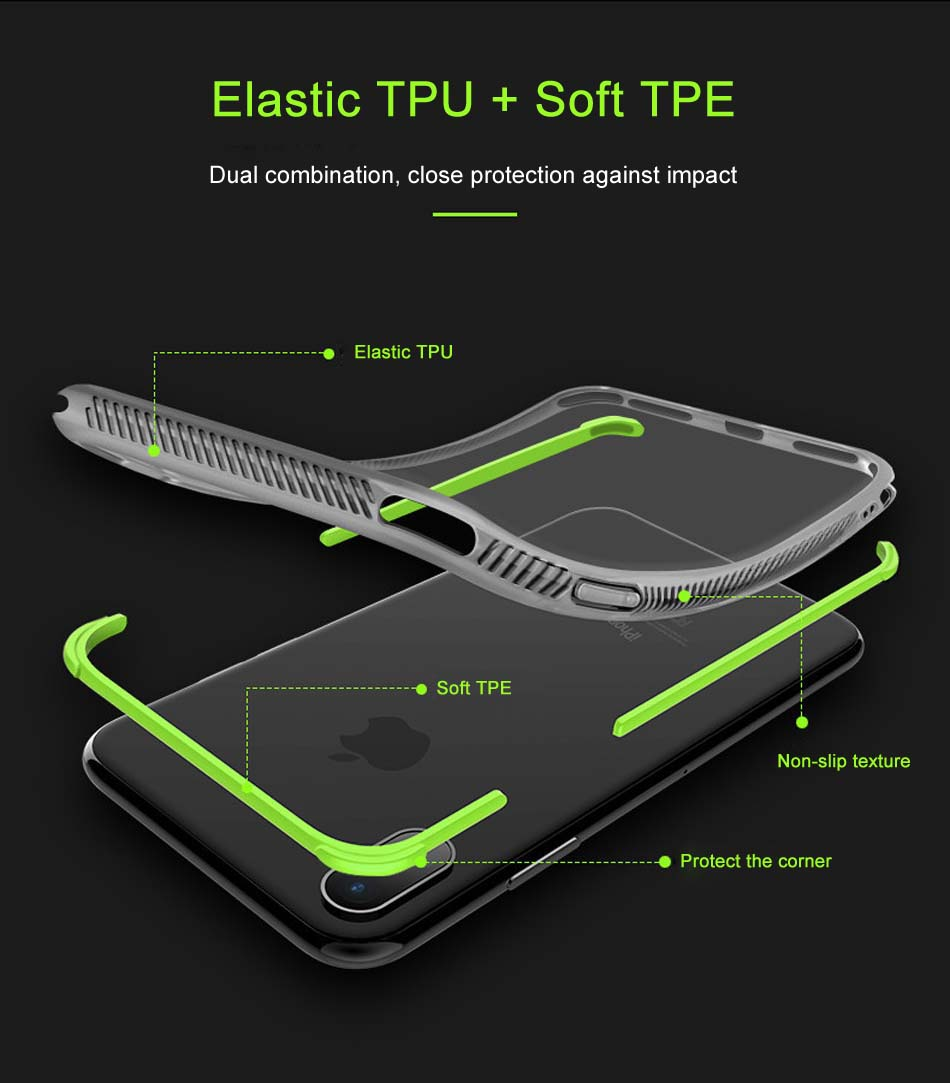 Bakeey 2 in 1 Removable Airbag Transparent Soft TPU Protective Case for iPhone X