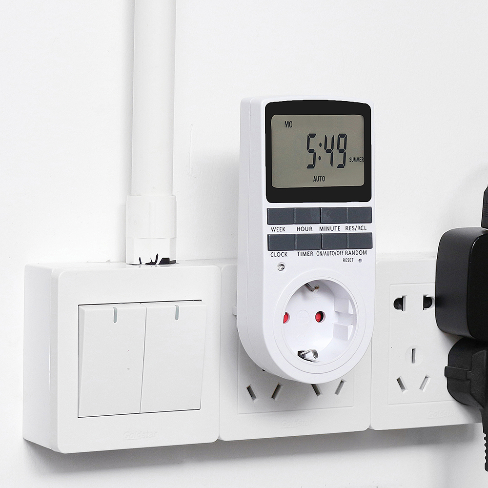 16A 230V LCD Digital Timer Socket with Clock Function Timing Outlet Switch 24h Smart Timer Switch