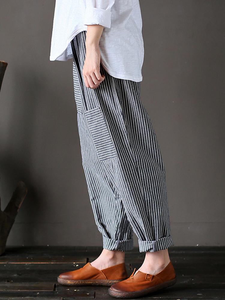 M-5XL Women Stripe Elastic Waist Harem Pants