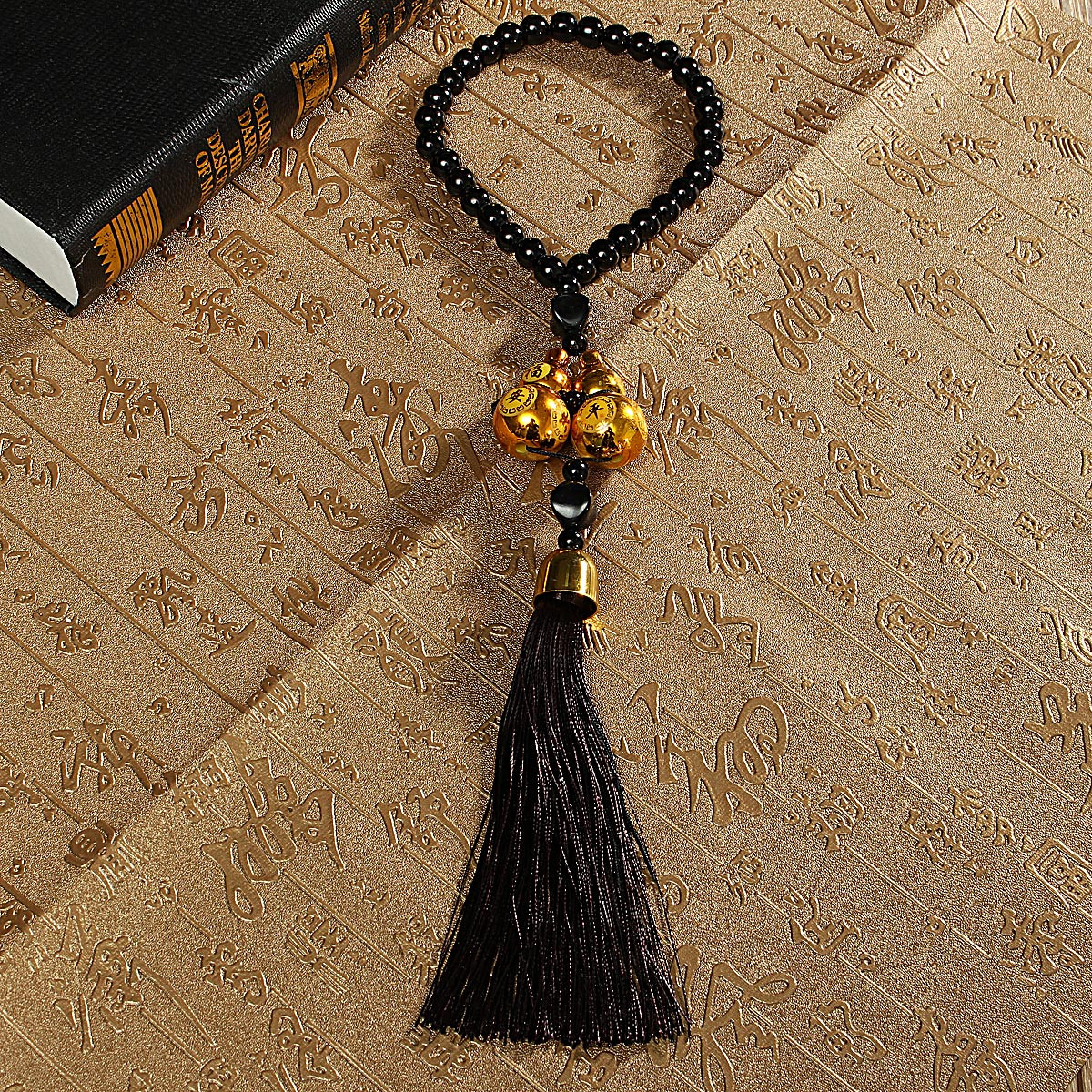 Double Gourd Lucky Charm Pendant Tassels Car Rear View Mirror Hanger Decoration