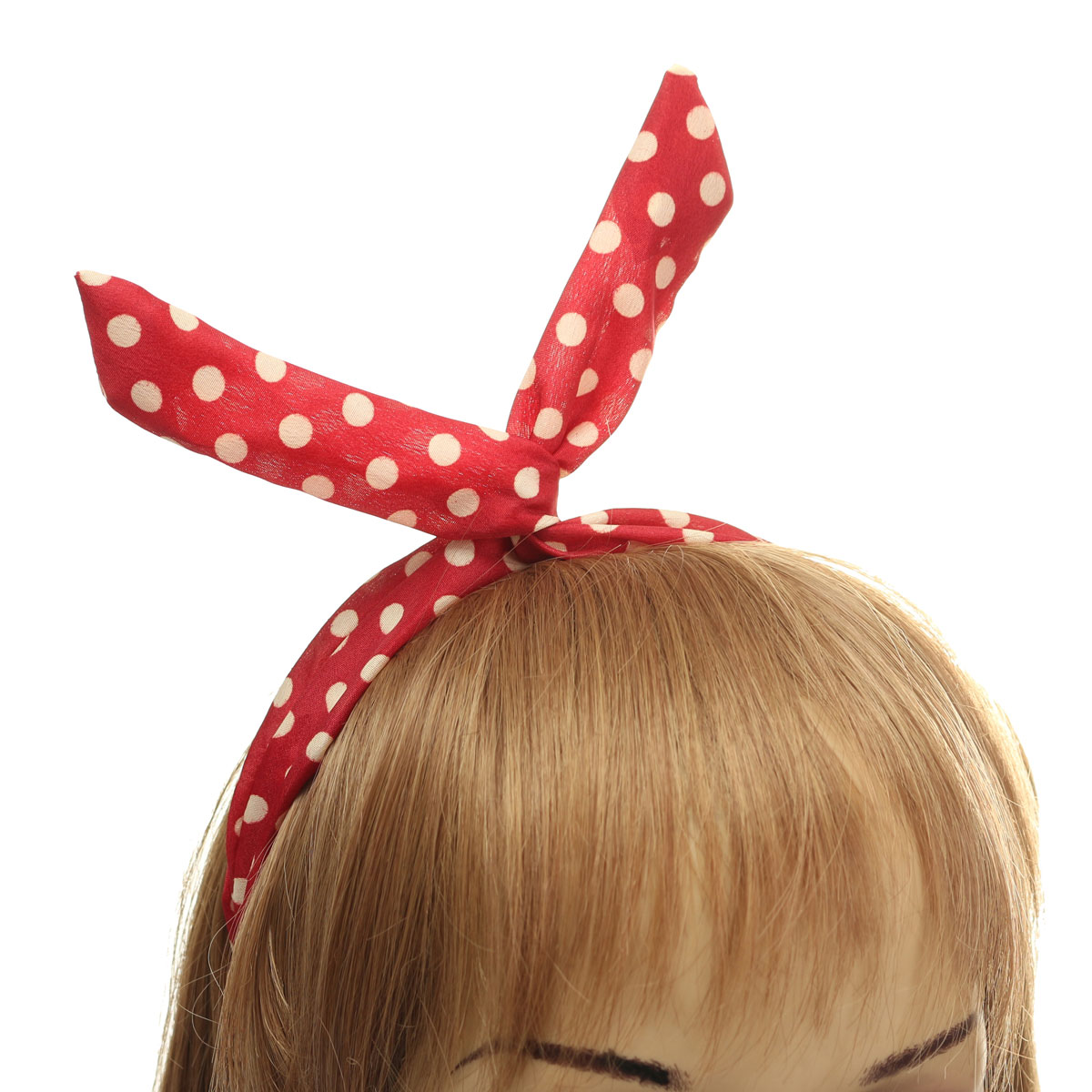 Lovely Retro Polka Dot Headband Tie Bunny Ears Girls Wired Hairband Hair Accessories