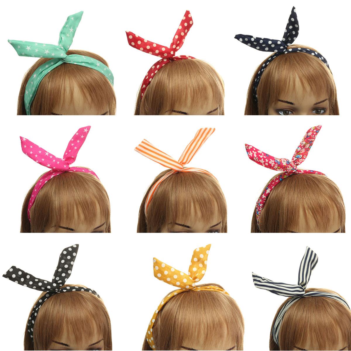 Lovely Retro Polka Dot Headband Tie Bunny Ears Girls Wired Hairband Hair Accessories