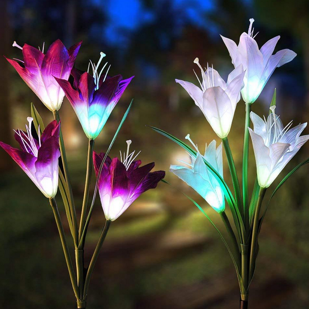 2pcs Solar Power 4 LED Lily Flower Lights Multi-Color Changing Outdoor Garden Patio Yard Stake Lamps