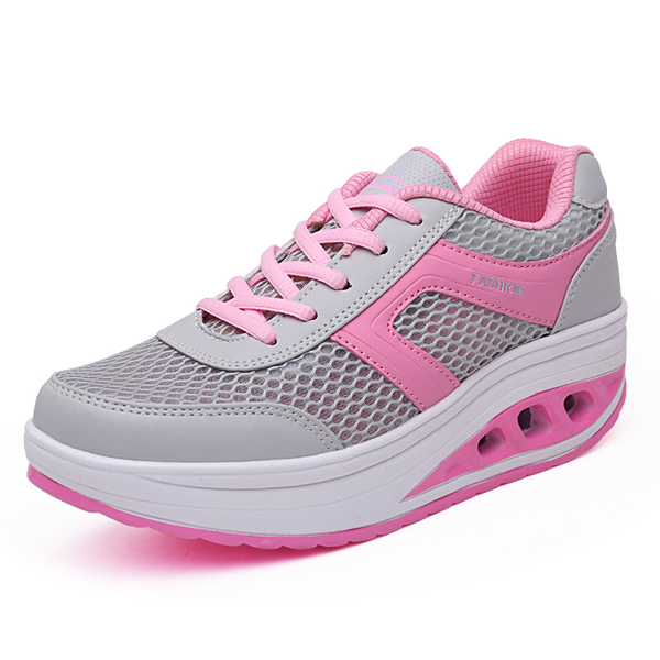 Summer Women Mesh Rocker Sole Shoes Casual Outdoor Sport Breathable Athletic Shoes