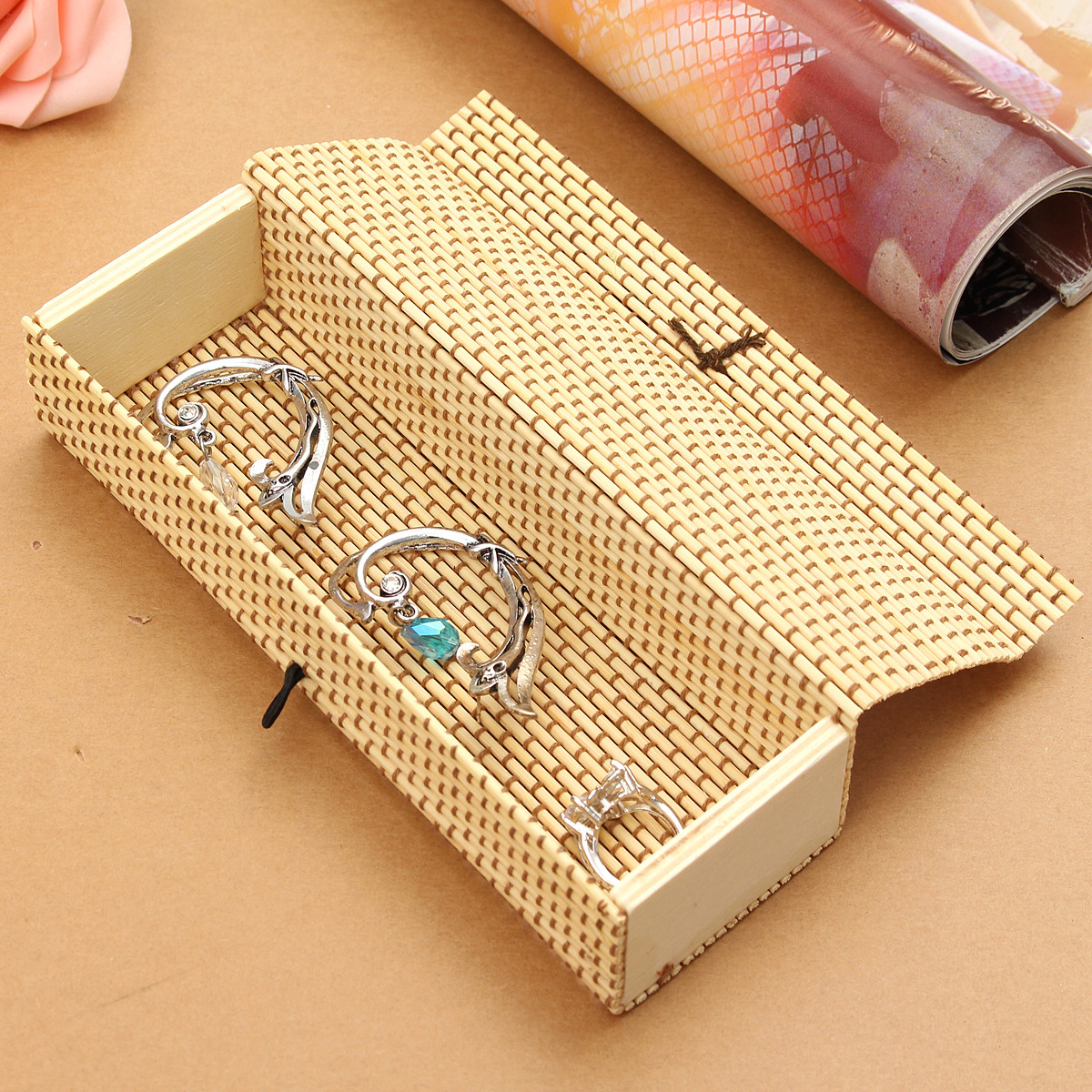 Bowknot Bamboo Wooden Ring Bracelet Jewelry Storage Box Case