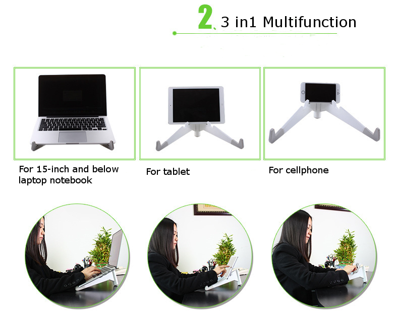 Portable Multifunctional Laptop Radiating Stand Notebook Cooling Holder Tablet Cell Phone Holder
