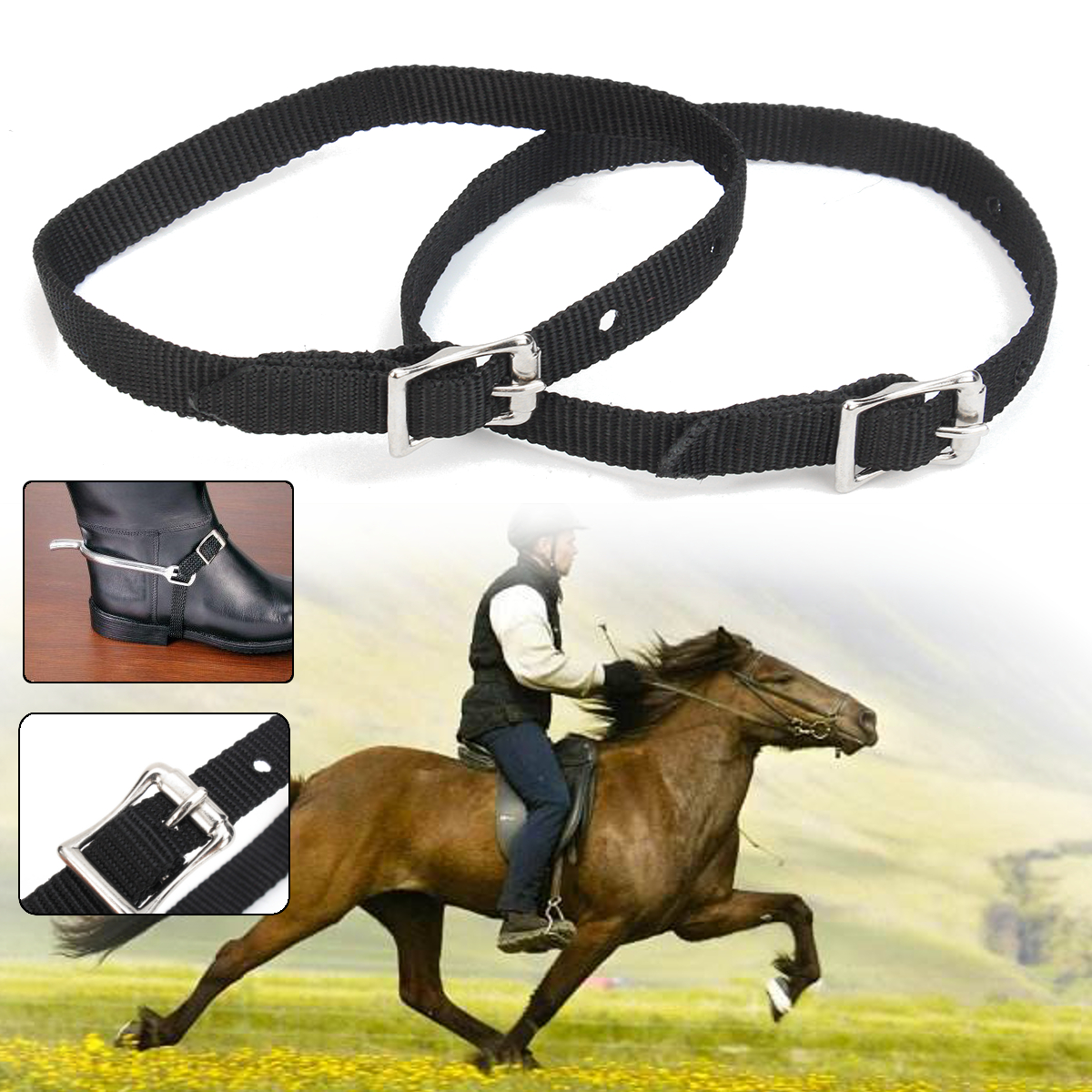 Western Harness Leather Spur Straps Mens Ladies Cowboy Horse Buckles Black