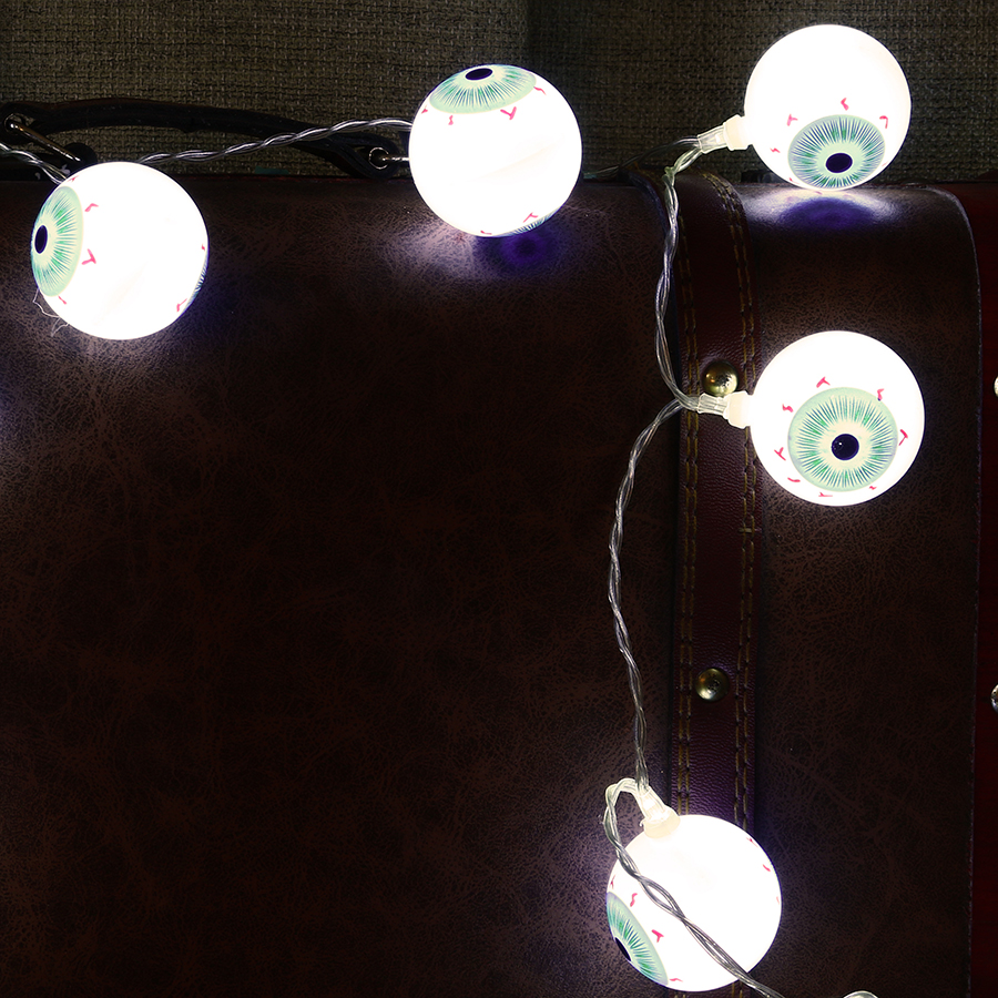 KCASA 1M 10 LED Halloween Eyeball Fairy String Lights for Christmas Party Home Decorative Lighting AA Battery