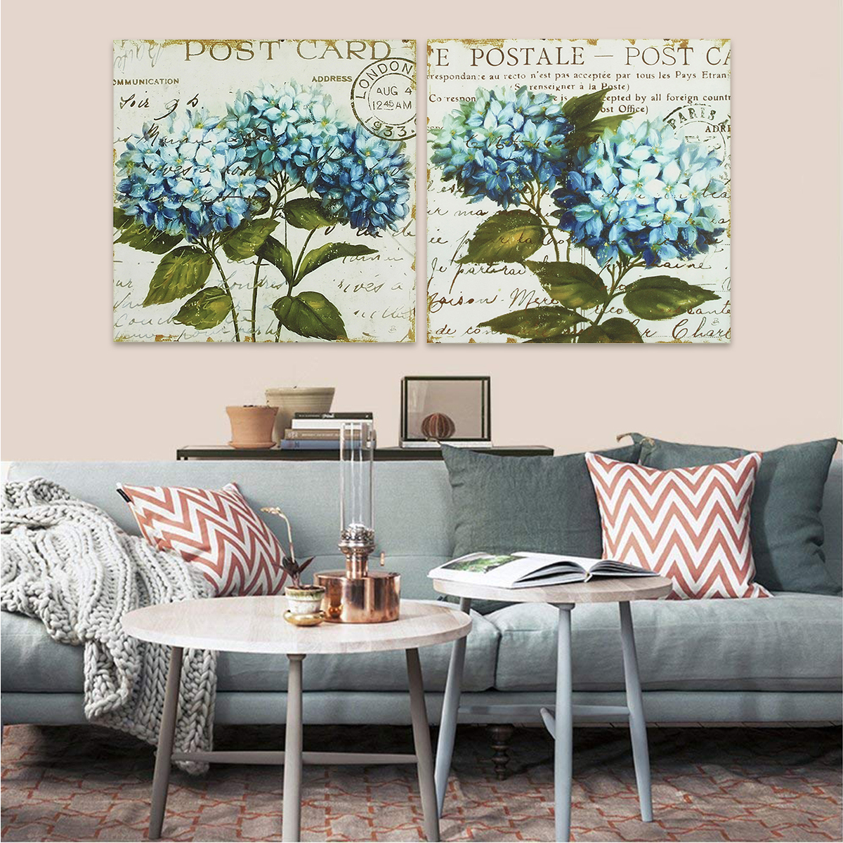 2 PCS Unframed Home Decor Canvas Print Paintings Wall Art Vintage Flowers Blue Green