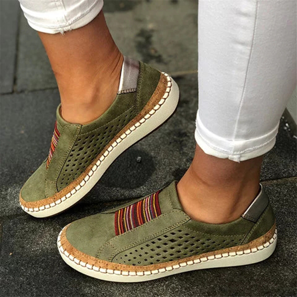 Comfortable Hollow Out Splicing Flat Loafers