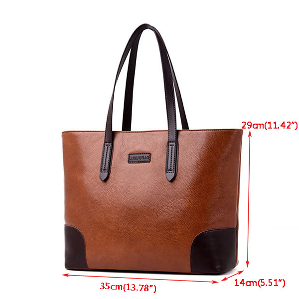 Large Capacity Faux Leather Tote Bag Handbag Shoulder Bag