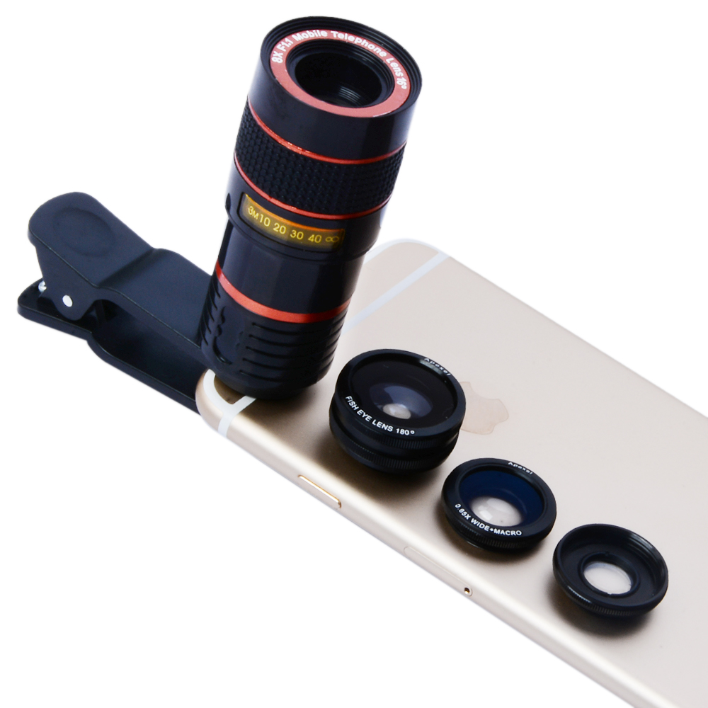 Apexel APL-8XCX3 Universal 8X Telephoto Zoom Fisheye Wide Macro Lens for Mobile Phone Tablet
