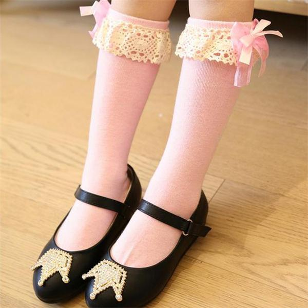 Toddler Girls Kids Warm Floral Knee High Length Socks Organza Lace Boot Sox Princess Bowknot School Leg Cotton