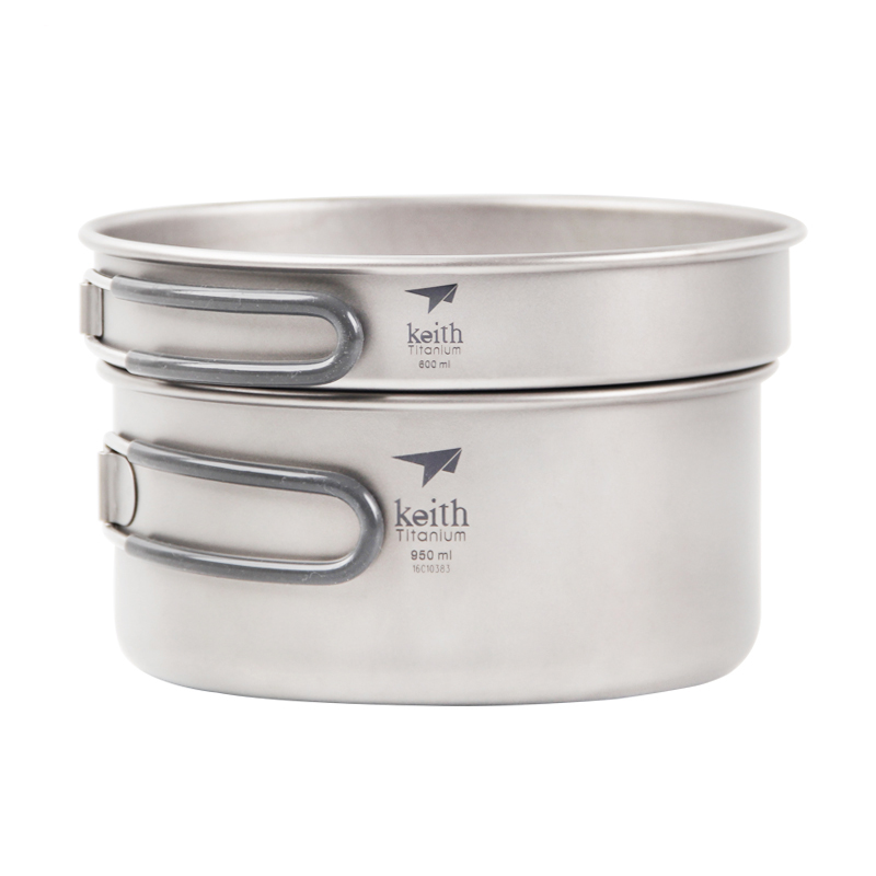 Keith Ti6016 Titanium Pot Pan Camping 2pcs Cookware Set
