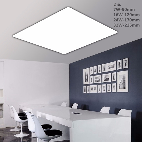 7W 16W 24W 32W Square LED Recessed Ceiling Panel Down Light Pure White With Driver 85-265V
