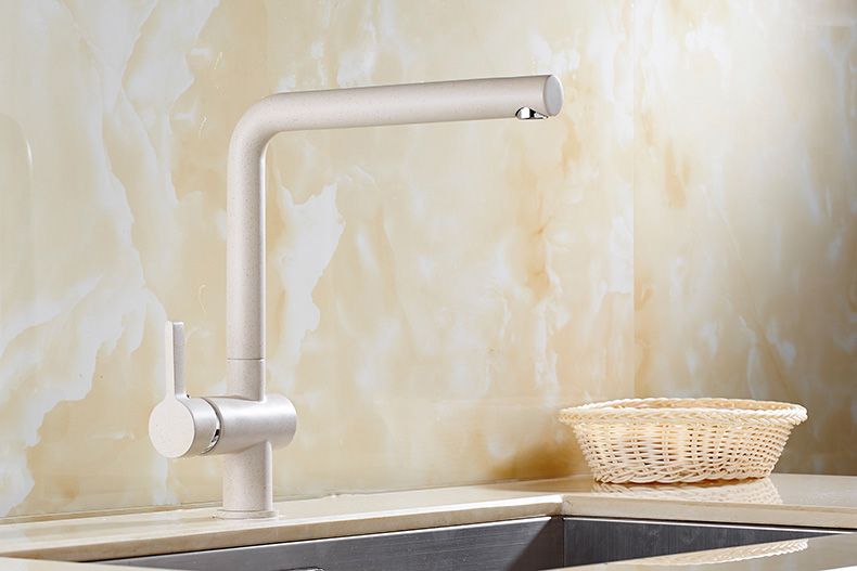 KCASA KC-9107 Oatmeal Color Brass 360° Rotation Kitchen Faucet Hot & Cold Swivel Spout Basin Sink Mixer Taps