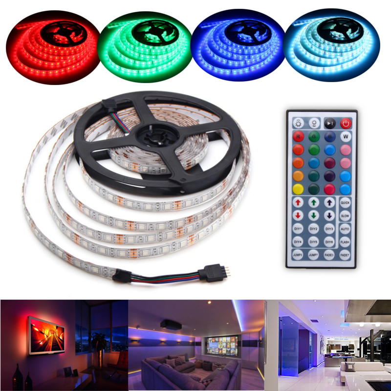 5M 60W RGB SMD5050 Waterproof 300 LED Strip Light + 44 Key Remote 12V 2A Power Adapter Full Kit