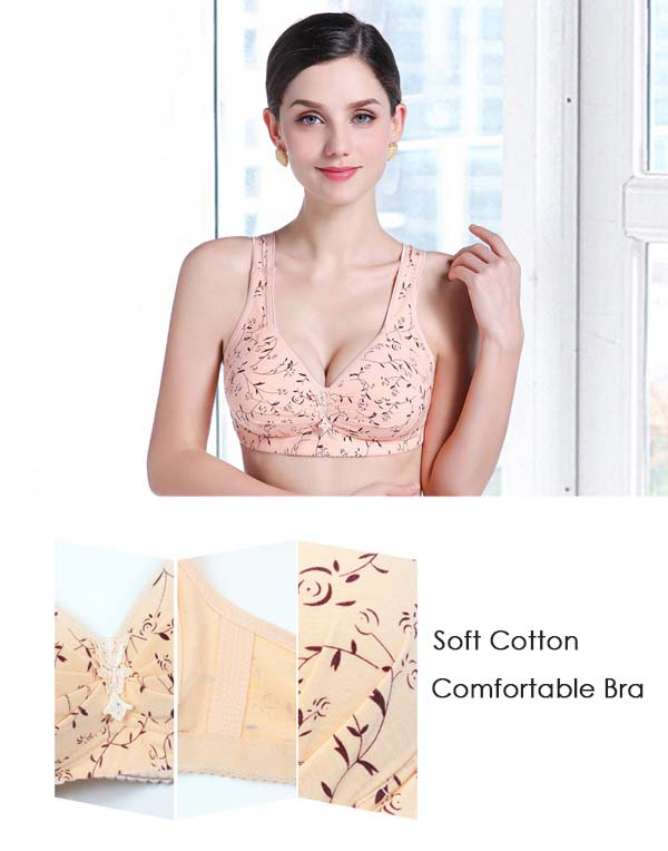 Cotton Wire Free Massage Cup Breathable Push Up Bra