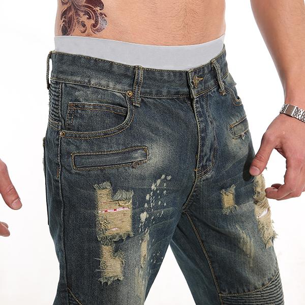 Mens Fashion Fold Casual Loose Biker Cotton Washed Holes Frayed Jeans Denim Pants